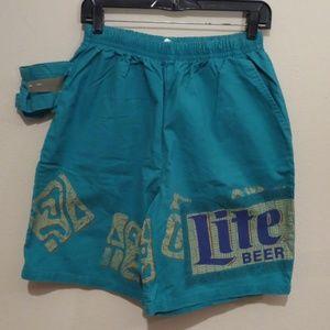 Vtg 90's Zoodas Miller Light Beer holder shorts